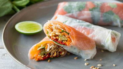 """Recipe: <a href=""""http://kitchen.nine.com.au/2017/03/06/10/41/vietnamese-cold-smoked-salmon-rice-paper-rolls"""" target=""""_top"""">Vietnamese cold-smoked salmon rice paper rolls</a>"""