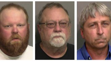 """Provided by the Glynn County, Ga., Detention Center, shows from left, Travis McMichael, his father Gregory McMichael, and William """"Roddie"""" Bryan Jr."""