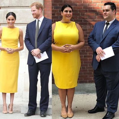 Plus-size bloggers Katie Sturino and Ryan Dziadul replicating Prince Harry and Meghan Markle's looks