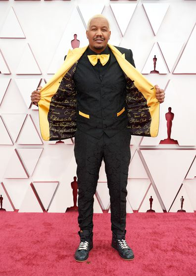 Oscar® nominee Travon Free arrives on the red carpet of The 93rd Oscars® at Union Station in Los Angeles, CA on Sunday, April 25, 2021.