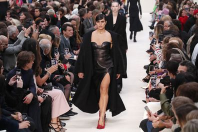 A model wears a creation for the Valentino fashion collection during Women's fashion week Fall/Winter 2020/21 presented in Paris  on March 1, 2020.