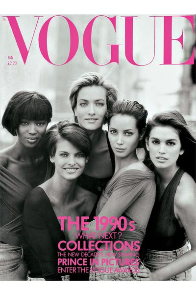 The iconic '90s supermodel cover for&nbsp; the January issue of <em>British Vogue</em> 1990