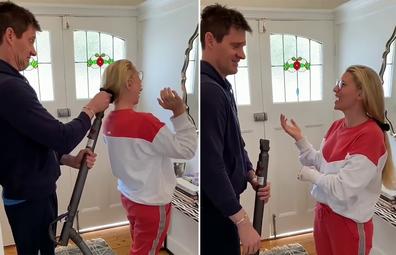 Tiffany Hall and husband Ed Kavalee try TikTok ponytail hack