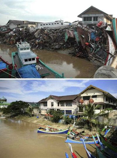 The wreck of a boat in the Aceh River near Peunayoung neighbourhood on 26 December 2004 (top) and a view of the same neighborhood on 16 December 2014 (bottom), in Banda Aceh, Indonesia. (EPA)