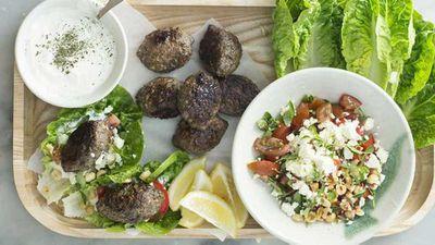 "Recipe:<a href=""http://kitchen.nine.com.au/2017/08/10/16/19/lamb-kofta-lettuce-wraps"" target=""_top"">Lamb kofta lettuce wraps</a>"