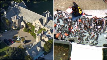 More than a thousand guns were seized from a home near to the infamous Playboy Mansion in LA.