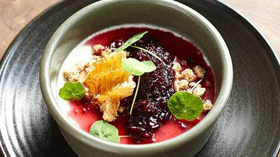 """Recipe:<a href=""""http://kitchen.nine.com.au/2016/05/05/13/05/the-gantrys-goats-milk-pudding-with-oatmeal-crumble"""" target=""""_top"""">The Gantry's goat's milk pudding with oatmeal crumble</a>"""