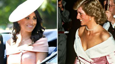 Meghan Markle at Trooping the Colour, 2018; Princess Diana at a gala for the Royal Ballet, 1987