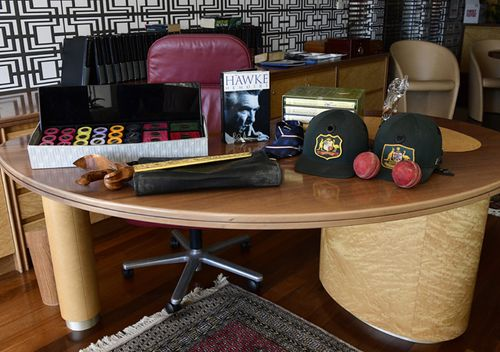 Items up for auction in the home office of former prime minister Bob Hawke, in Northbridge, Sydney. A range of items belonging to Bob Hawke and Blanche D'Alpuget were auctioned off on Tuesday night.