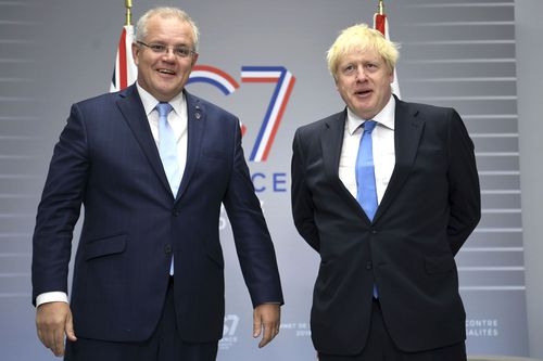 British Prime Minister Boris Johnson meets with Australian Prime Minister Scott Morrison for bilateral talks during the G-7 summit in Biarritz, France, in August last year.