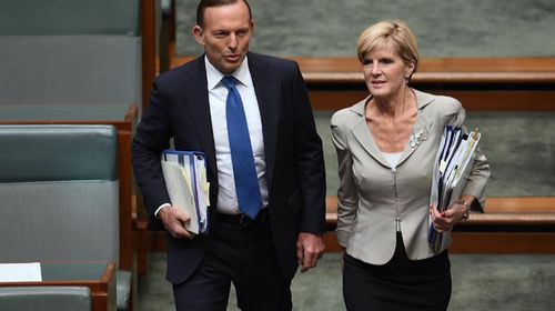 Julie Bishop and Tony Abbott. (AAP)