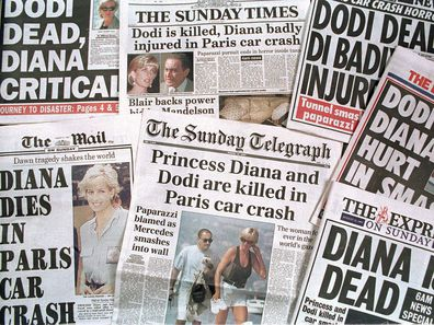 Newspapers announcing Princess Diana's death, 1997.