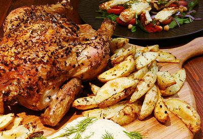 Herb-roasted chicken with haloumi