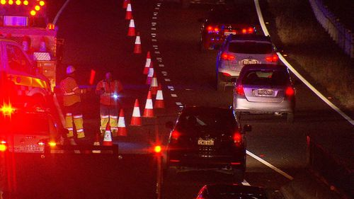Westbound lanes of the M2 were shut down for several hours following the crash. Picture: 9NEWS