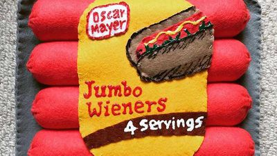 Felt Jumbo Wieners at Lucy Sparrow's supermarket