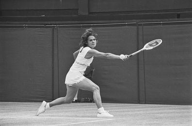 Australian tennis player Evonne Goolagong Cawley at Wimbledon.