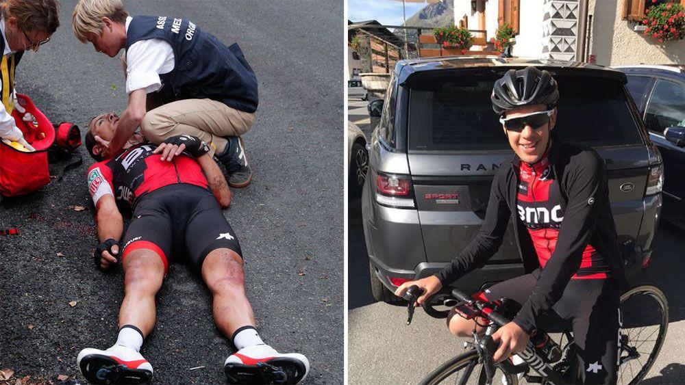 Australia's Richie Porte gets back on the bike after Tour de France crash