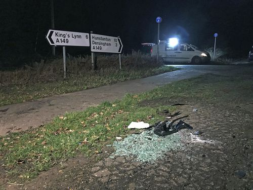 Broken glass and car parts on the side of the A149 near to the Sandringham Estate where the Duke of Edinburgh was involved in a road accident last week while driving.