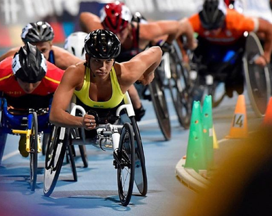 Madi paralympian racing in group