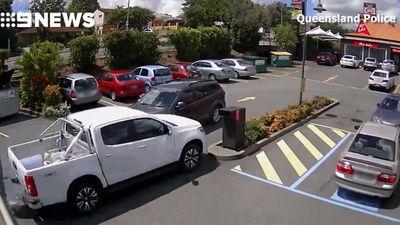Police cars rammed, bin knocked over in McDonald's rampage