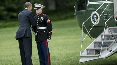 Barack Obama faced criticism in 2013 for failing to salute a marine before boarding a helicopter. The president disembarked and apologised to the marine afterwards.