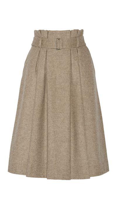 """<a href=""""http://www.net-a-porter.com/au/en/product/491576"""">Lollila Pleated Wool-Blend Skirt, $327.57, By Malene Birger</a>"""