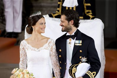 Prince Carl Philip and Princess Sofia leave their wedding ceremony at the Royal Chapel at the Royal Palace on June 13, 2015 in Stockholm, Sweden.