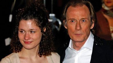 Bill Nighy and daughter Mary Nighy arrive for 2003 Premiere of Love Actually, in aid of Comic Relief, held at the Odeon Leicester Square, central London