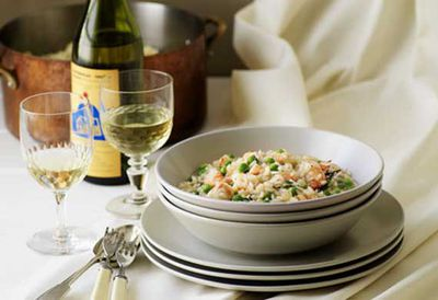 Friday: Risotto with peas and prawns