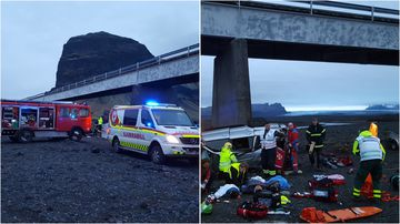 Seven people from two British families were invovled ina crash on an Iceland bridge yesterday.
