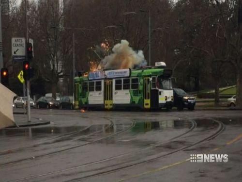 Dozens of passengers were evacuated as smoke filled the tram. Image: 9News