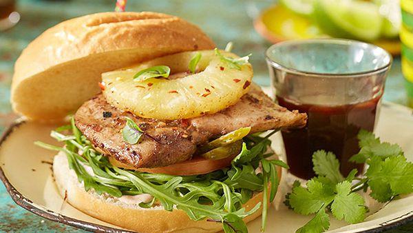 Jamaican jerk chicken burger