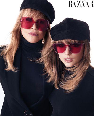 Pattie Boyd in a Sportmax jacke, Wolford bodysuit, Dior hat and sunglasses. Taylor Swfit in a Falke bodysuit and Dior hat and sunglasses for <em>US Harper's Bazaar</em> August 2018