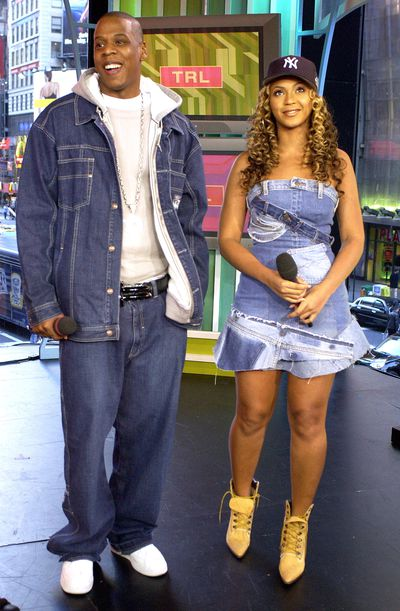 Jay- Z and Beyonce doubling up in denim for an appearance on MTV'S Total Request Live in 2002