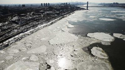 Spectacular pictures showing ice floes on the normally clear Hudson River has emerged.