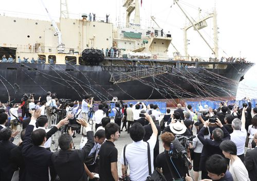 The whaling ship Nisshin Maru, an 8,145-ton vessel, leaves Shimonoseki port to restart the first commercial whaling in the Antarctic Ocean in 31 years.