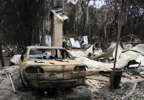 The ruins of a home in Flowerdale, north of Melbourne, Wednesday, Feb. 11, 2009.
