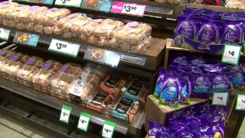 Easter eggs are also lining the shelves at Woolworths. (9NEWS)