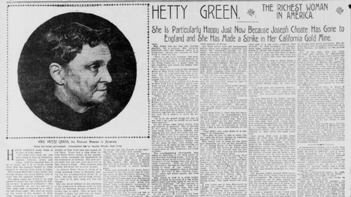 A newspaper article referring to Hetty Green as the richest woman in America.