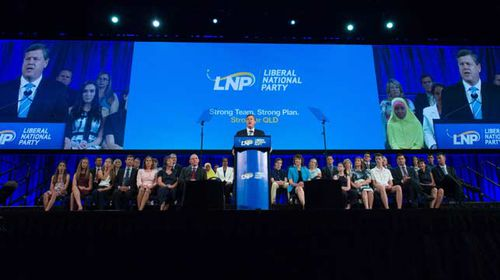 Tim Nicholls, Queensland Treasurer and Minister for Trade speaks during the official launch of the Liberal National Party (LNP) election campaign. (AAP)