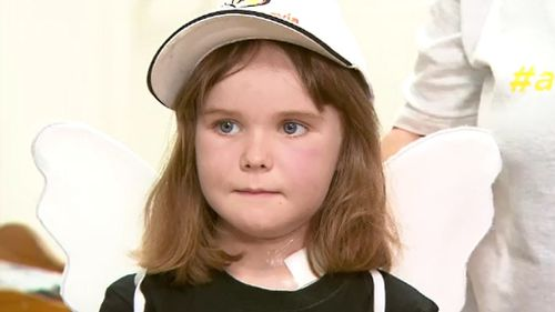 Freyja Christiansen had an incurable head tumour, undergoing several operations to treat it. (9NEWS)