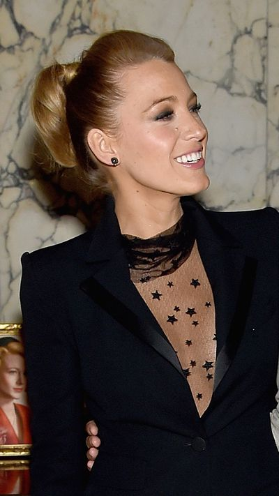 To accompany a statement outfit (yes, that is a sheer unitard), Blake opts for a sleek bun.