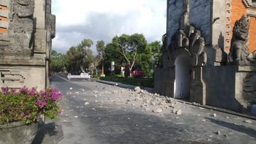 Stones from a hotel entrance in Nusa Dua were dislodged in the earthquake.