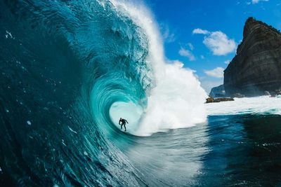 Stu Gibson's photo 'Mikey Brennan' captures mate Mikey taking on a mighty swell at Shipstern's in Tasmania