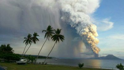 Mt Tavurvur in Papua New Guinea erupted this morning for the second time in two years. (Photo: Philip Onaga)