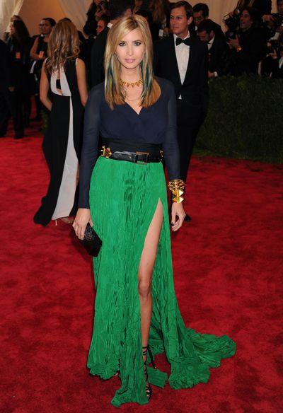 Ivanka Trump at the 2013 Met Gala Punk: Chaos to Couture wearing a very un-punk creation from Juan Carlos Obando.