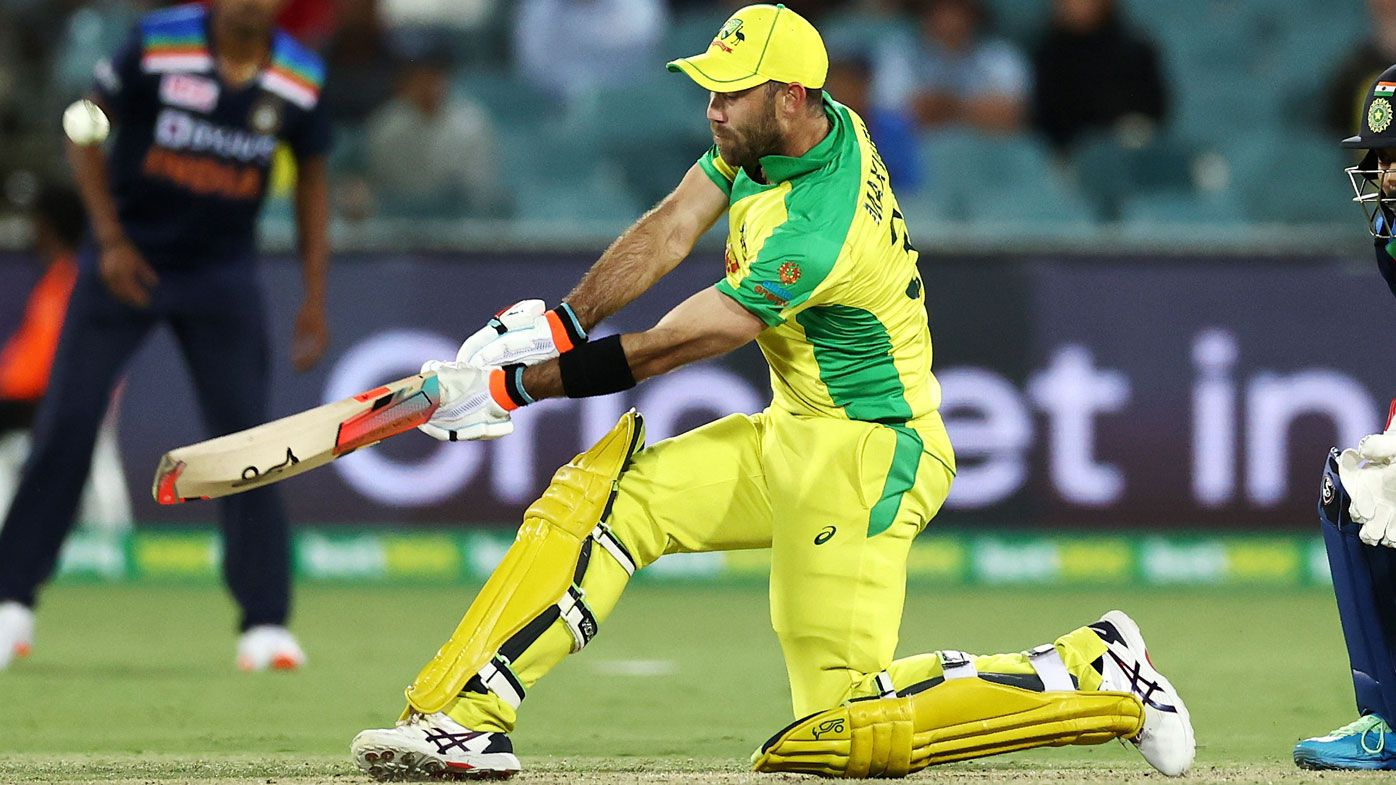 Maxwell smashes a switch-hit stunner for six. (Getty)