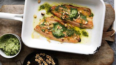 """<a href=""""http://kitchen.nine.com.au/2016/05/16/16/34/panfried-trout-with-sorrel-butter-and-hazelnuts"""" target=""""_top"""">Pan-fried trout with sorrel butter and hazelnuts<br> </a>"""