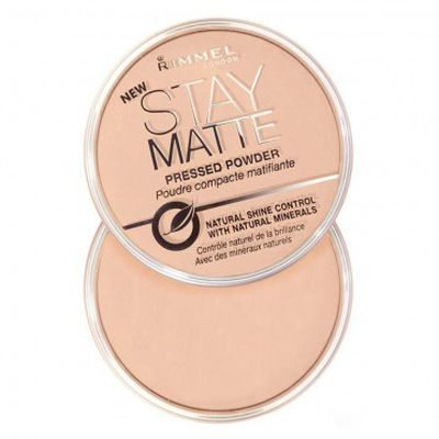 "<a href=""https://www.priceline.com.au/rimmel-stay-matte-pressed-powder-1-ea"" target=""_blank"">Rimmel Stay Matte Powder, $11.95.</a>"