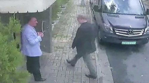 A security camera image shows Khashoggi entering the Saudi Consulate in Istanbul.